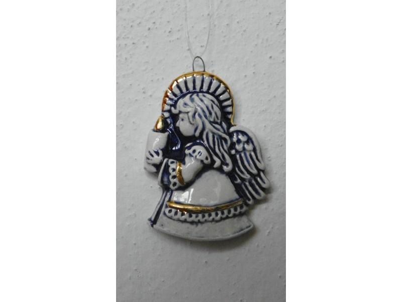 Anděl modrý levý Vánoční keramika