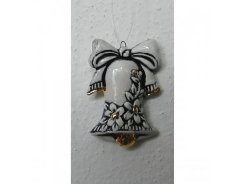 Zvonek modrý s mašlí Vánoční keramika