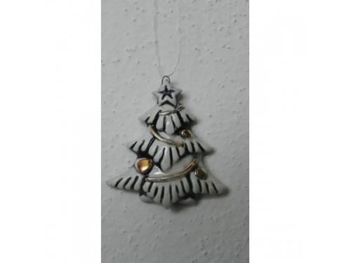 stromek vánoční modrý keramika vánoční
