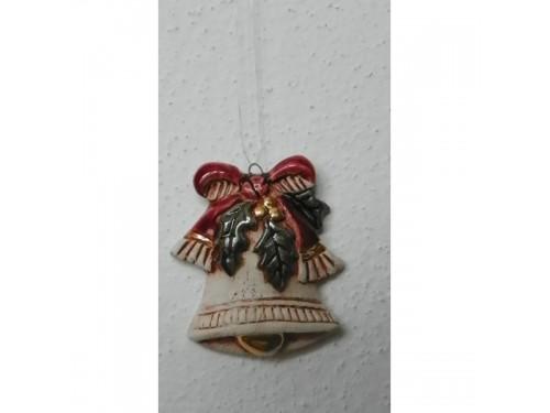 Zvonek s mašlí bordo Keramika na vánoce