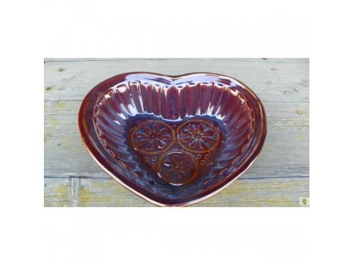Srdce keramické hnědé