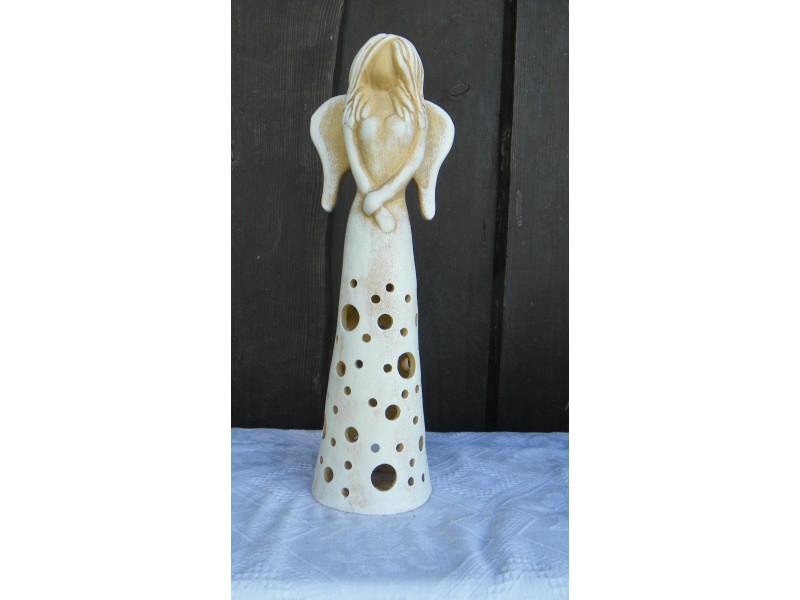 Anděl keramický 34cm,na svíčku.