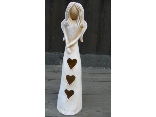 Anděl otevřeného srdce.Bílá patina-34cm