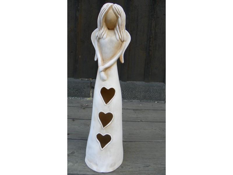 Andělka otevřeného srdce.Bílá patina34 cm.Na svíčku
