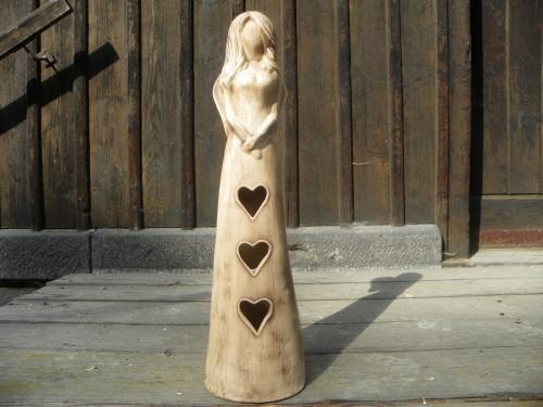 Andělka srdce 62cm režná.